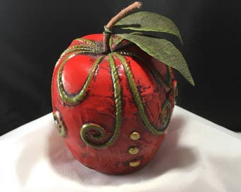Vintage 60's Fitz & Floyd Apple Paperweight (Red, Green, Gold)