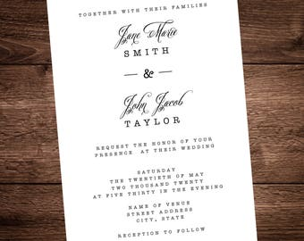 Simple & Elegant Wedding Invitation with color options, enclosures and envelopes