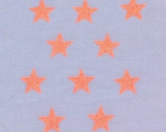10 stars hot-melt 15x15mm glittery neon orange