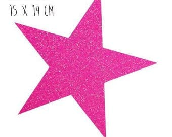 Star pattern fusible thin 15 x 14 cm glitter neon pink