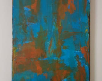 Blues and reds. Acrylic canvas abstract art. 400mm x 300mm
