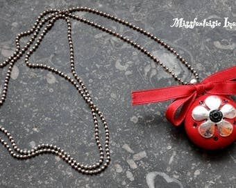 """Necklace polymer clay and satin """"Flower and bow"""" Red"""