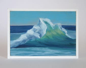 Mini Oil Painting Wave Landscape 3.5in x 4.5in
