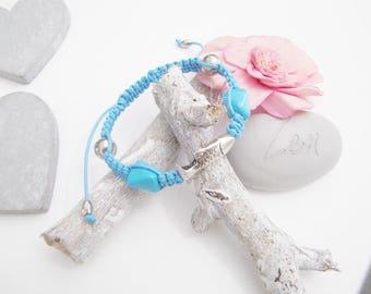 Bracelet adjustable Shambhala macramé cotton Turquoise Blue fish silver Metal ♥ ♥