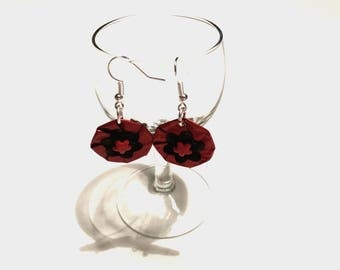 Red coffee capsule recovery jewelry earrings