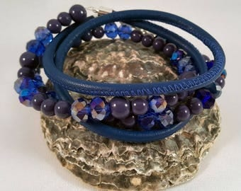 Beaded leather wrap bracelet with acrylic and facet beads