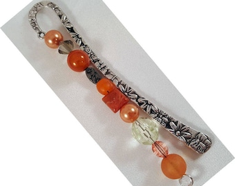 "Bookmark ""Flower"", approx. 122 x 12 mm, Altsilberfarben with Orangfarbenen beads"
