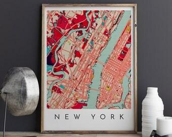 New York Map Print, New York Print, New York Map, New York Poster, New York Art, Modern Map Print, Map of New York, New York City Map, City