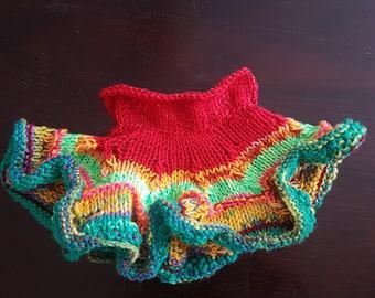 Little girl skirt //Rainbow colors// knitted skirt//