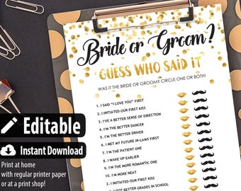 Bride or Groom Game Editable He Said She Said Bridal Shower Game Printable, Wedding Shower Games,editable,Instant Download,Gold,Confetti
