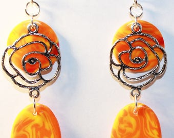 Silver rose and orange marbled polymer clay earrings