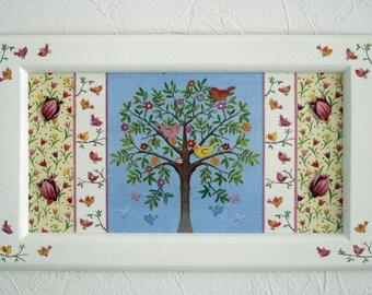 """Tree with birds"" wood panel"