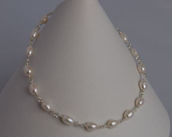 Sterling Silver Genuine White Freshwater Cultured Pearl Rosary Bracelet
