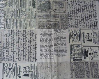 C442 newspaper fabric beige/ecru 35x60cm coupon