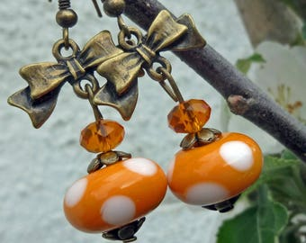 Earrings - ribbons - orange and white dots...