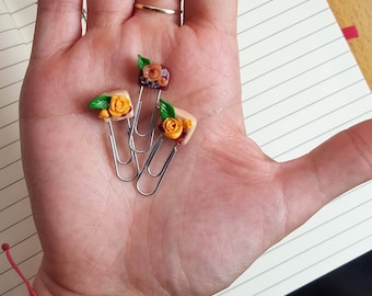 Rose paper clips from polymer clay