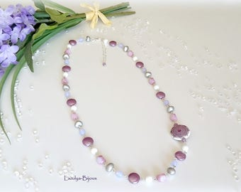 Asymmetric chain Rosary necklace silver-Pearl China - beads purple and white