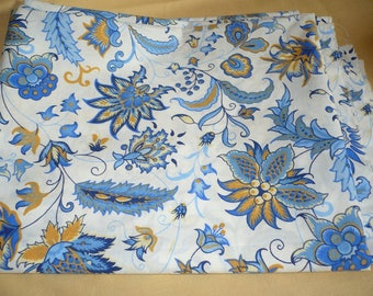 White and blue and yellow flowers design cotton fabric