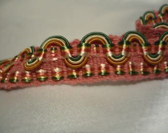 stripe upholstery 1, 3cm wide pink green yellow and gold look shiny and silky