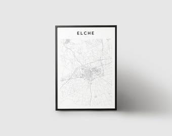 Elche Map Print