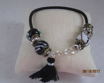Black leather cord Bracelet with Pandora style chrms