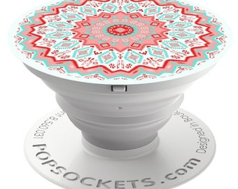 PopSockets For Phone Pop Socket Phone Grip Phone Stand Holder Aztec Mandala Red