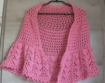 Big shawl/heater shoulder pink dark round wire, round shape, different openwork stitches, one size
