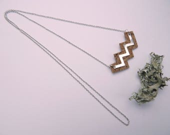 """Long necklace made of Cork """"ZIGZAG"""""""