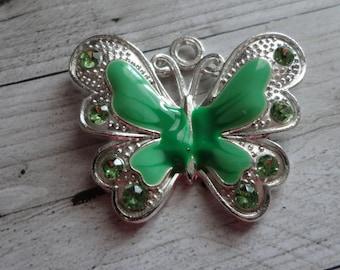 Great 29.5x34.5 mm Green enamel silver Butterfly charm