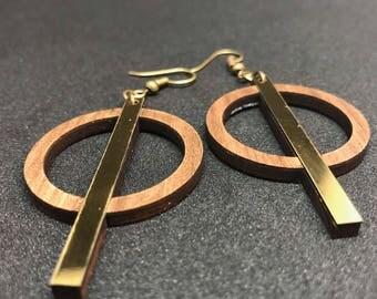 The barred wood and acrylic earrings