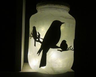 """Birds on branch"" LED tealight Lantern"
