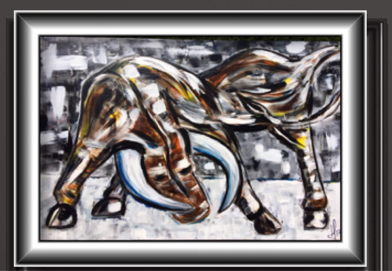 Taureau bull animal taureau abstrait peinture for Peinture mural original