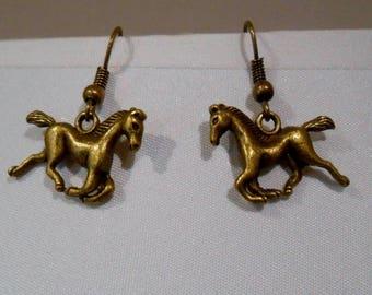Boucles d'oreilles chevaux couleur bronze