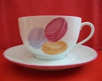 "Breakfast: large Cup + Saucer in Limoges porcelain ""Macaroons"" 2"