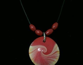 Handmade pendant with red & yellow swirl polymer clay necklace