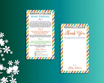 Rodan and Fields Mini Facial Card, Rodan and Fields Thank You Card, Fast Personalized, Rodan + Fields Independent Consultant, RF03