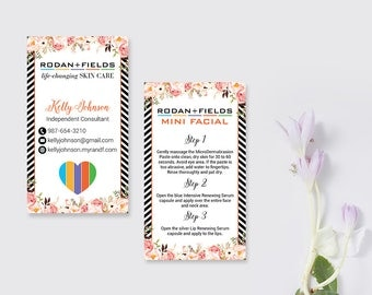 Rodan and Fields Mini Facial Card, Rodan and Fields Business Cards, Fast Personalized, Modern Business Cards RF03