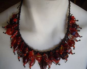 Red glass beads and Brown cotton necklace