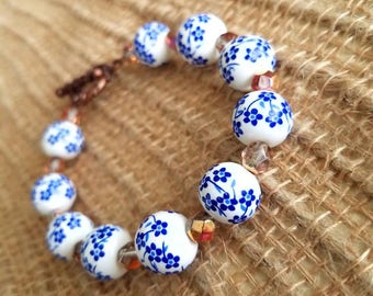 Blue floral and czech glass bead bracelet
