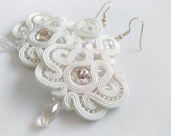 Bridal white crystals soutache earrings