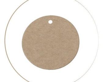 Set of 10 round, Brown, 5 cm diameter, thickness 0.5 mm