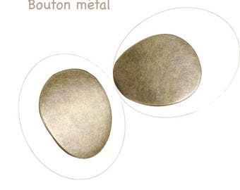 Metal button bronze oval 30 x 25 mm, hole 3 mm