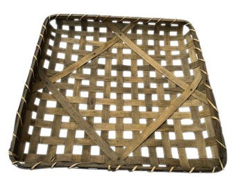 "25"" Square Tobacco Wood Basket Vintage Primitive Look Country Farmhouse Rustic Chic 25"" x 25"" x 3"""