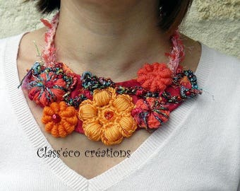 textile art, crocheted and beaded necklace