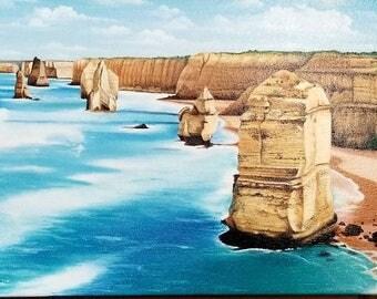 "Seascape original oil painting 10"" x 30"" Australian coast."