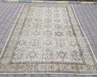 6'1x9'8 ft Turkish Handmade Rug, Hallway Rug,Area Rug,Vintage Rug, Beige Color,Anatolian Rug,Antique Rug