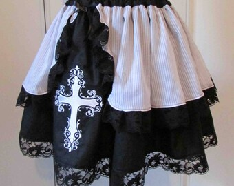 Black and white cross embroidered skirt