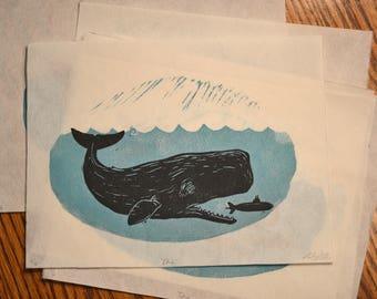 """Linocut whale print """"dive"""""""