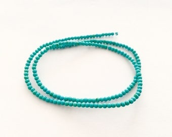 180 round pearls in reconstituted turquoise 2.60 mm for jewelry designs