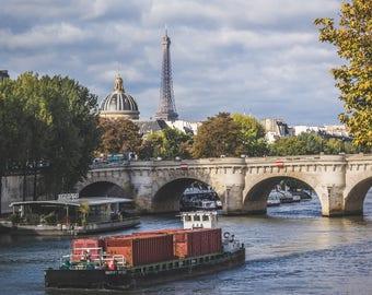 Barge On Seine River; Paris, France